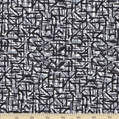 Color Blast Geometric Cotton Fabric - Black