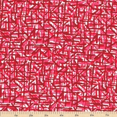 Color Blast Geometric Cotton Fabric - Red