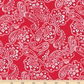 Color Blast Paisley Cotton Fabric - Red - CLEARANCE