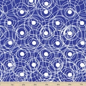 Color Blast Swirls and Dots Cotton Fabric - Blue
