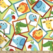 Comfy Flannel Animal Blocks Fabric - Green