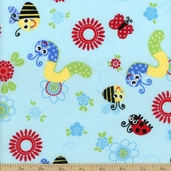 Comfy Flannel Bugs Fabric - Blue