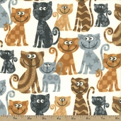 Comfy Flannel Cats Fabric - White