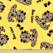 Comfy Flannel Cotton Fabric - Puppy Toss - Yellow