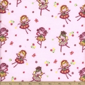 Comfy Flannel Fairy Fabric - Pink