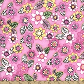 Comfy Flannel Floral Cotton Fabric - Pink
