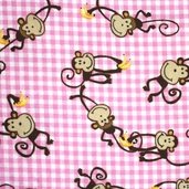Comfy Flannel - Monkeys Pink