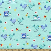 Comfy Flannel Owls and Birds - Blue 0002-66 BLUE