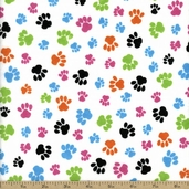 Comfy Flannel Paw Prints Cotton Fabric - White