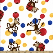 Comfy Flannel Prints - Monkey Toss - White