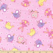 Comfy Flannel Prints - Nursery Animals Pink