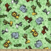 Comfy Flannel Prints - Zoo Toss - Green