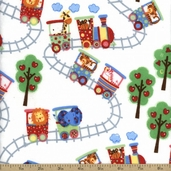 Comfy Flannel Prints - Zoo Train - White
