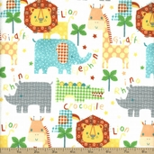 Comfy Flannel Safari Cotton Fabric - White