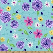 Comfy Flannel Spring Flowers - Blue 0002-66 BLUE