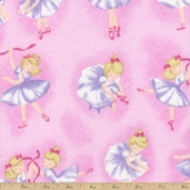 Comfy Prints Ballerina Flannel Fabric - Pink