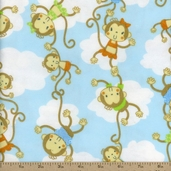 Comfy Prints Monkey Chain Flannel Fabric - Blue