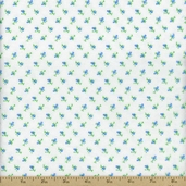Comfy Prints Rosebud Flannel Fabric - Blue