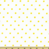 Comfy Yellow Polka Dot Flannel Fabric - White