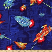 Coming at You Spaceship Cotton Fabric - Navy
