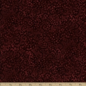 Complements Leafy Scroll Cotton Fabric - Dark Rose
