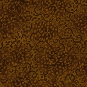 Complements Leafy Scroll Cotton Fabric - Dark Chocolate Brown