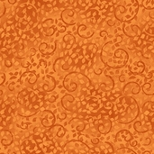 Complements Leafy Scroll Cotton Fabric - Medium Orange