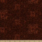 Complements Leafy Scroll Cotton Fabric - Terracotta Q.1402-26295-822
