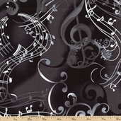 Concerto Notes Cotton Fabric - Black