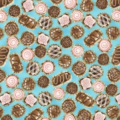 Confections Cotton Fabric - Blue