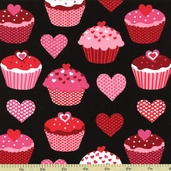 Confections Cupcake Cotton Fabric - Black AMF-12986-2