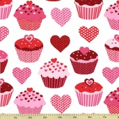 Confections Cupcake Cotton Fabric - White AMF-12986-1