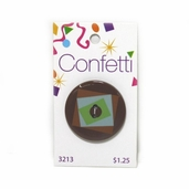 Confetti Button - Blue Brown and Green Square