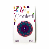 Confetti Button - Green and Pink Flower