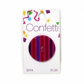 Confetti Button - Red and Purple Stripes