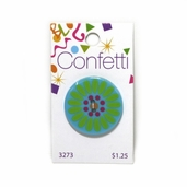 Confetti Button - Turquoise Flower
