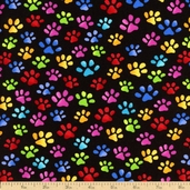 Cool Cats Paws Cotton Fabric - Black 796-B