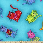 Cool Cats Tossed Cats Cotton Fabric - Turquoise