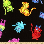 Cool Cats Tossed Cotton Fabric - Black 792-B
