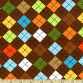 Cool Cords Argyle Corduroy Cotton Fabric - Brown