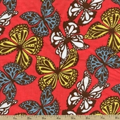 Cool Cords Butterfly Toss Corduroy Fabric - Cayenne