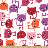 Cool Cords Cat Corduroy Cotton Fabric - Cherry