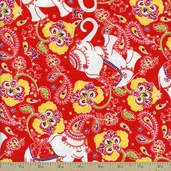 Cool Cords Elephants Corduroy Fabric - Cayenne