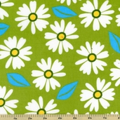 Cool Cords Floral Corduroy Cotton Fabric - Lime