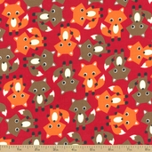 Cool Cords Fox Corduroy Cotton Fabric - Red