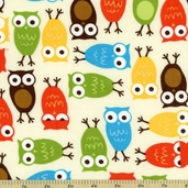 Cool Cords Owl Corduroy Cotton Fabric - Harvest