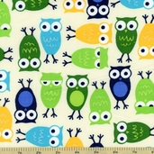Cool Cords Owl Corduroy Cotton Fabric - Lagoon
