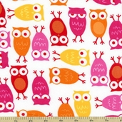 Cool Cords Owl Corduroy Cotton Fabric - White