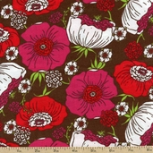 Cool Cords Packed Floral Corduroy Fabric - Brown