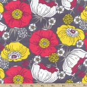 Cool Cords Packed Floral Corduroy Fabric - Grey